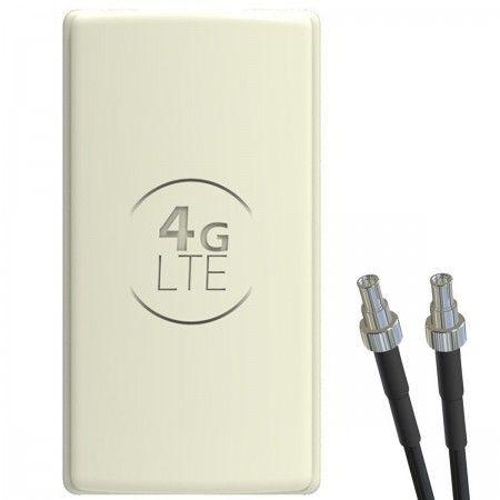 Antena 4G LTE DUAL PANEL 2x25dbi + 2x10m BIAŁA + 2x TS9 prosty