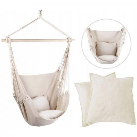 Podwieszane krzesło hamakowe 130x100 cm LEIGAR® Kremowe