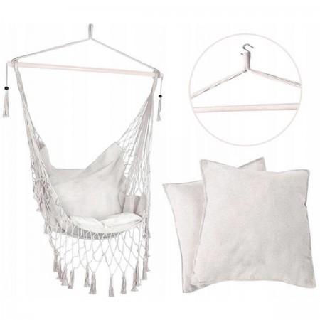 Podwieszany fotel brazylijski 130x100 cm LEIGAR® Kremowy