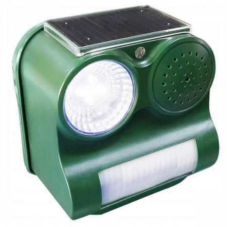 Solarny odstraszacz ptaków i zwierząt z lampą LED i głośnikiem