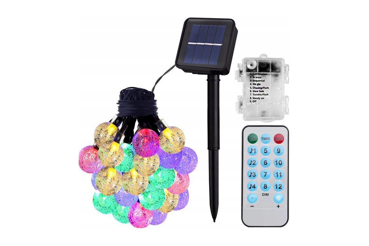 Lampki solarne 60LED RGB IP65