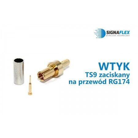 Wtyk TS9 na przewód RG174